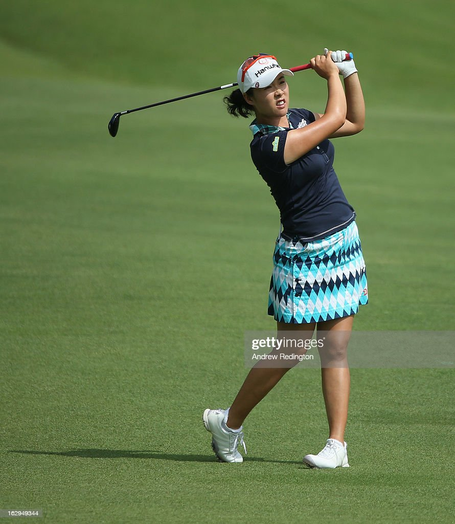 Haeji Kang of South Korea in action during the third round of the HSBC Women's Champions at the Sentosa Golf Club on March 2, 2013 in Singapore, Singapore.