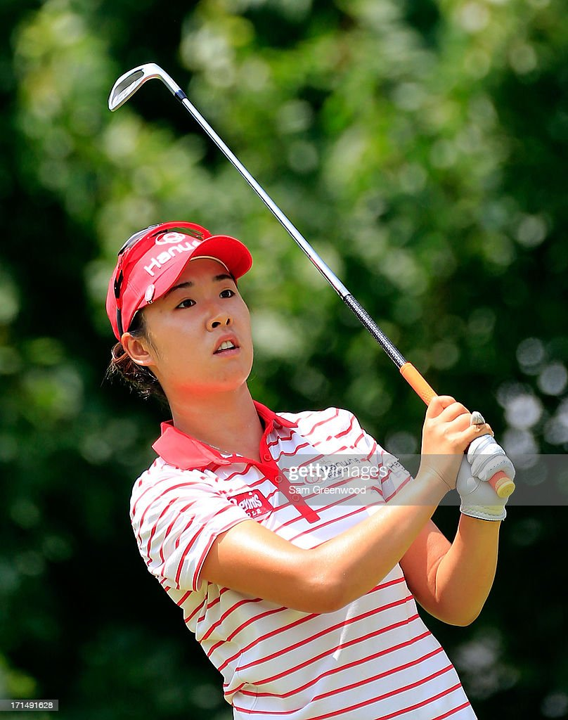 <a gi-track='captionPersonalityLinkClicked' href=/galleries/search?phrase=Haeji+Kang&family=editorial&specificpeople=5711752 ng-click='$event.stopPropagation()'>Haeji Kang</a> of South Korea plays a shot during the second round of the Walmart NW Arkansas Championship Presented by P&G at the Pinnacle Hills Country Club on June 22, 2013 in Rogers, Arkansas.