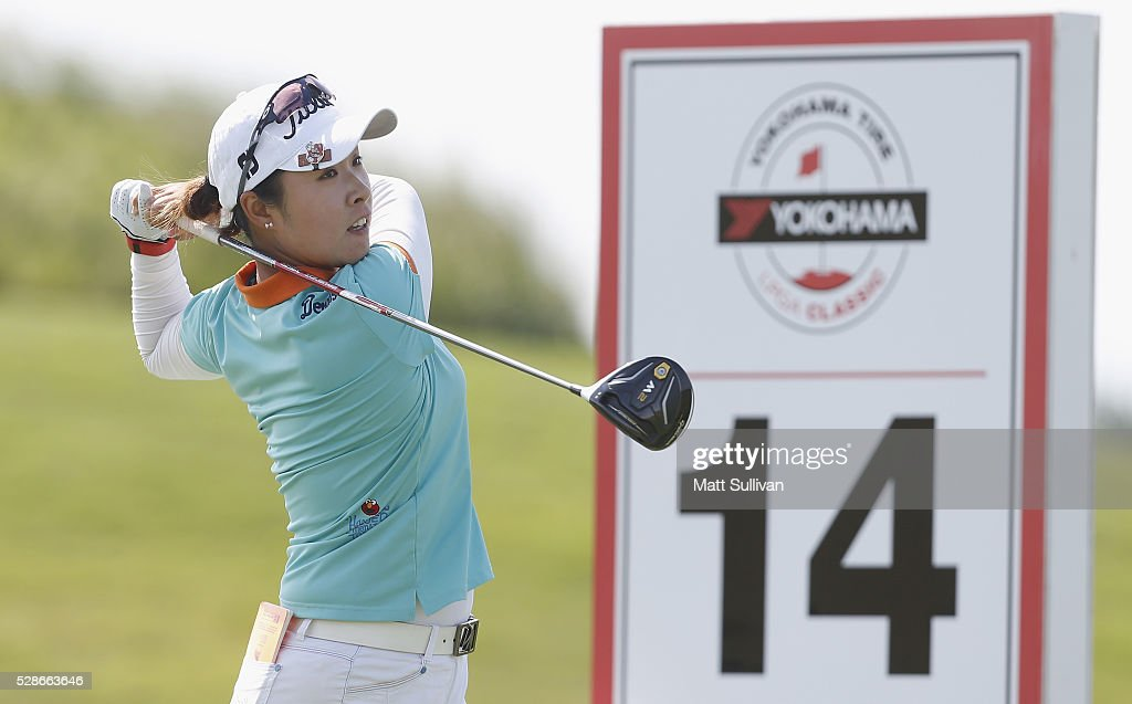Haeji Kang of South Korea watches her tee shot on the 14th hole during the second round of the Yokohama Tire Classic on May 06, 2016 in Prattville, Alabama.