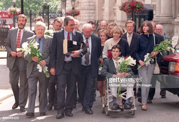 Haemophilia and Hepatitis C sufferer Paul Bullen joins a delegation of Haemophilia Society members and supporters in Downing Street today before...