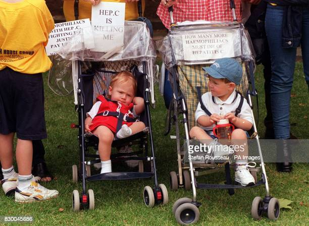 Haemophiliacs and their families gathered outside Westminister in protest at recieving blood infested with the hepatitis C virus during National...