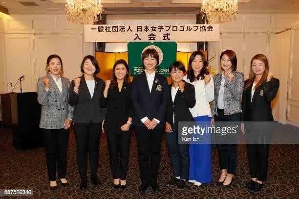 HaeRym Kim MinYoung Lee BoMee Lee of South Korea LPGA president Hiromi Kobayashi Nasa Hataoka of Japan SooYun Kang HaNeul Kim of South Korea and...