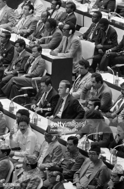 Hafez elAssad lors de la conférence des chefs d'état des pays nonalignés à la Havane Cuba le 2 septembre 1979