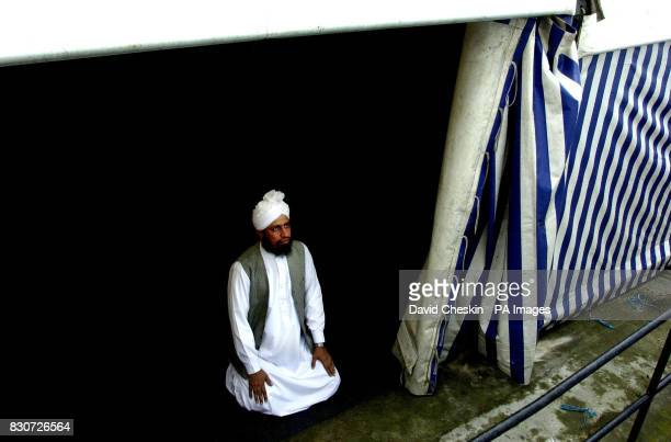 Hafiz Abdul Ghafoor the Imam of the mosque in Annandale Street Edinburgh in a marquee close the mosque which was firebombed earlier this week...