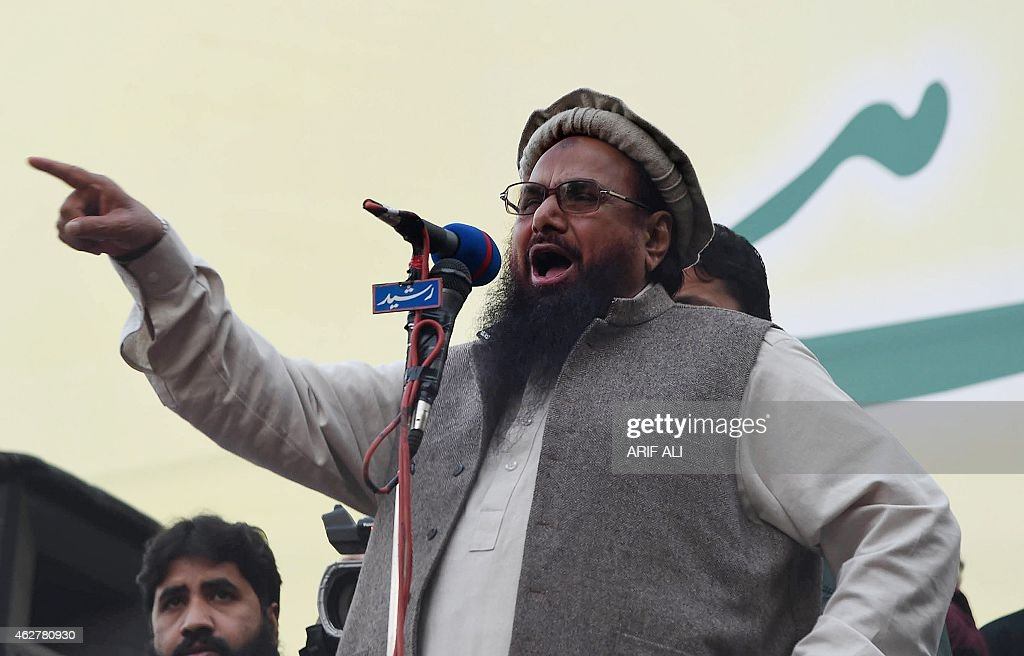 <a gi-track='captionPersonalityLinkClicked' href=/galleries/search?phrase=Hafiz+Muhammad+Saeed&family=editorial&specificpeople=5517481 ng-click='$event.stopPropagation()'>Hafiz Muhammad Saeed</a> (C), head of the banned Pakistani charity organisation, Jamaat-ud-Dawa (JuD) addresses demonstrators during a protest to mark Kashmir Solidarity day in Lahore on February 5, 2015. Pakistan observed Kashmir Solidarity Day on February 5 to denounce Indian rule in the disputed Himalayan region, claimed in whole by both countries.
