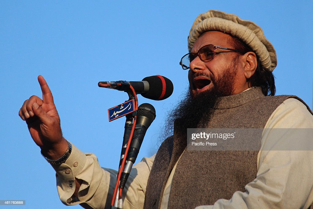 Hafiz Saeed, head of the banned Islamic charity Jamat-ud-Dawa, addresses demonstrators during a rally against a decision by the controversial French magazine 'Charlie Hebdo' to publish a depiction of the Prophet Muhammad. Around 10,000 people rallied against French magazine Charlie Hebdo, banning for militant links and urged protesters to boycott French products in Pakistan.