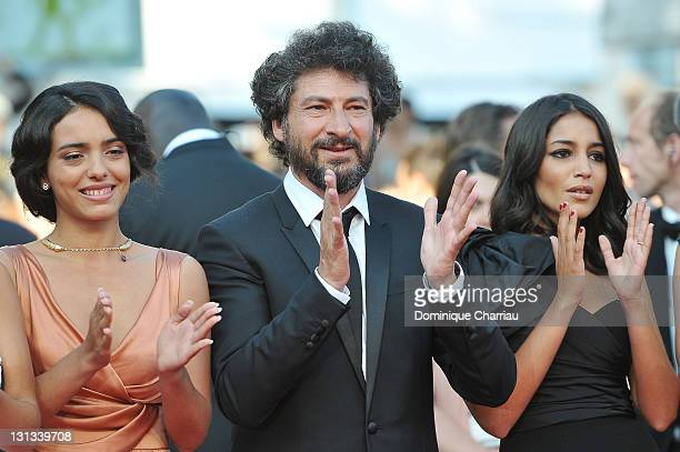 Hafsia Herzi Director Radu Mihaileanu and Leila Bekhti attend the 'La Source Des Femmes' Premiere during the 64th Cannes Film Festival at the Palais...