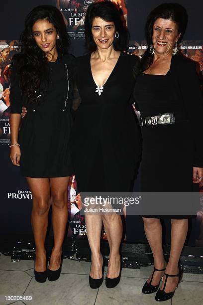 Hafsia Herzi Hiam Abbas and Biyouna attend 'La Source des Femmes' Premiere at Theatre du Chatelet on October 24 2011 in Paris France