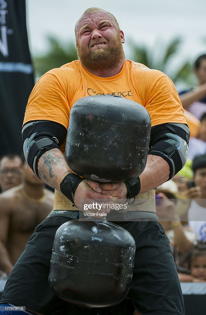 Hafthor Bjornsson of Iceland competes at the Circus Medley event during the World's Strongest Man competition at Yalong Bay Cultural Square on August 24, 2013 in Hainan Island, China.