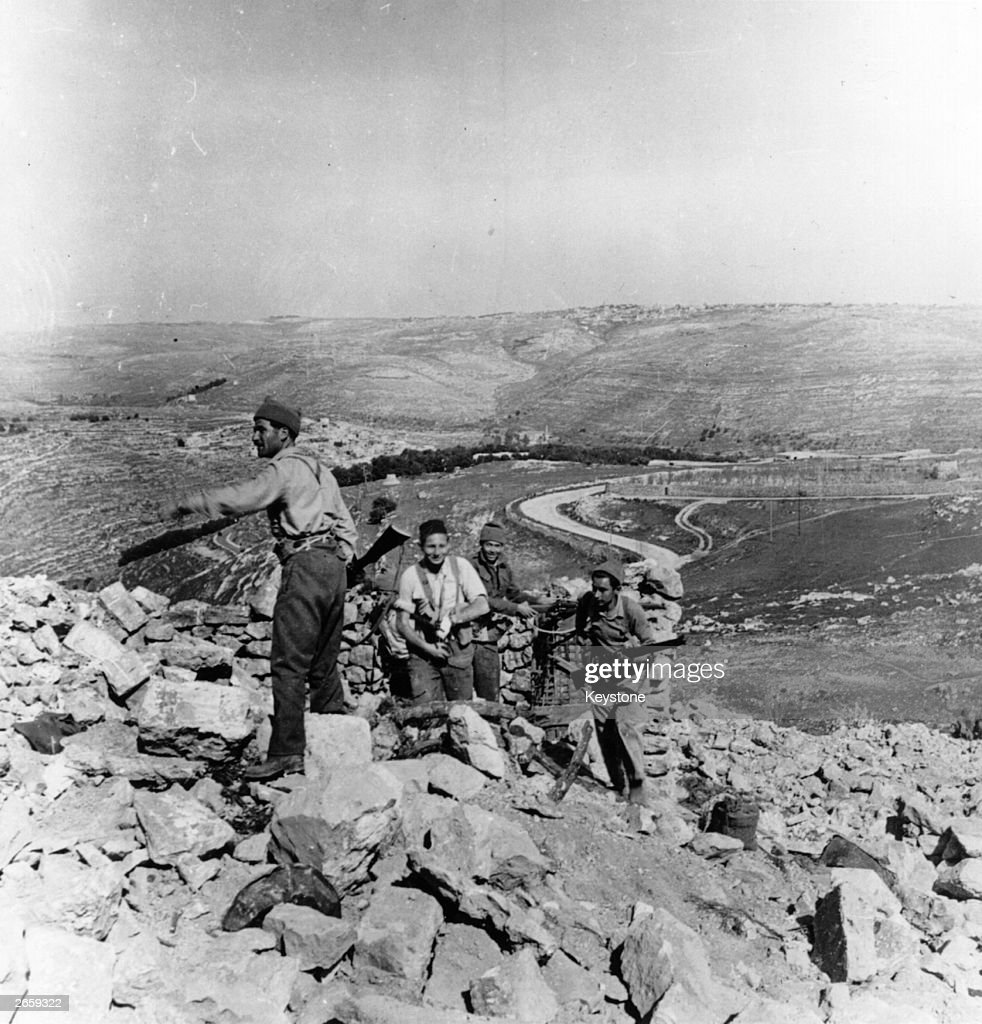Haganah militiamen on the Castel Heights on the Jaffa Road outside Jerusalem captured after stiff Arab resistance during the War of Independence