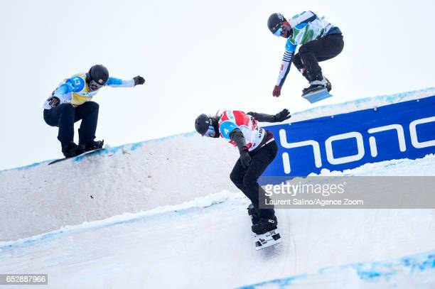 Hagen Kearney of USA wins the gold medal Loan Bozzolo competes during the FIS Freestyle Ski Snowboard World Championships Team Snowboardcross on...