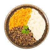 Haggis, Neeps & Tatties - Traditional Scottish meal commonly served at Burn's Night.