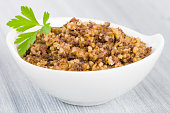Haggis - Traditional Scottish dish made of sheep's pluck oatmeal and spices.