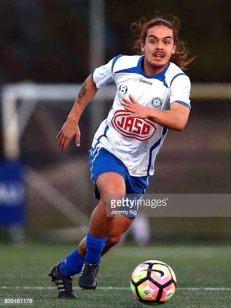 Hagi Gligor of Sydney Olympic dribbles the ball during the NSW NPL 1 Elimination Final between Manly United FC and Sydney Olympic FC at Cromer Park...