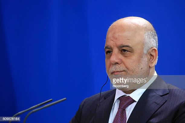 Haidar alAbadi Iraq's prime minister pauses during a news conference inside the Chancellory in Berlin Germany on Thursday Feb 11 2016 Abadi said the...