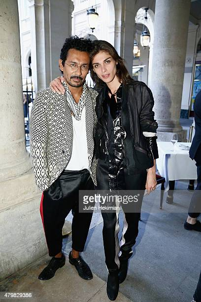 Haider Ackermann and Elisa Sednaoui attend the mytheresacom Haider Ackermann Dinner At Le Grand Vefour as part of Paris Fashion Week Haute Couture...
