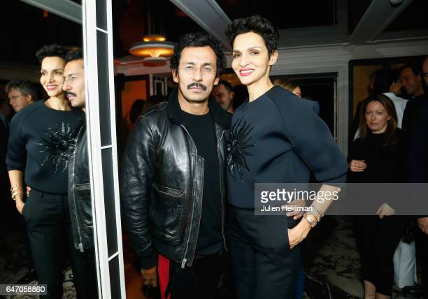 Haider Ackermann and Farida Khelfa attend the Mastermind Magazine launch dinner as part of Paris Fashion Week Womenswear Fall/Winter 2017/2018 at...