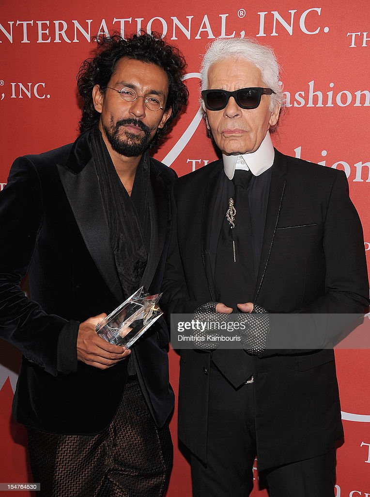 Haider Ackermann and <a gi-track='captionPersonalityLinkClicked' href=/galleries/search?phrase=Karl+Lagerfeld+-+Fashion+Designer&family=editorial&specificpeople=4330565 ng-click='$event.stopPropagation()'>Karl Lagerfeld</a> attend the 29th Annual Fashion Group International Night Of Stars at Cipriani Wall Street on October 25, 2012 in New York City.