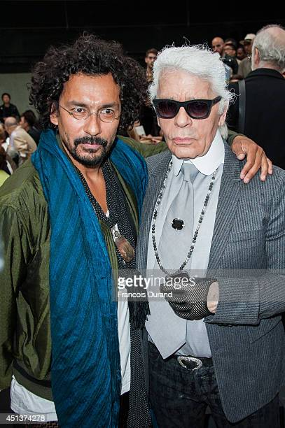 Haider Ackermann and Karl Lagerfeld attend the Dior Homme show as part of the Paris Fashion Week Menswear Spring/Summer 2015 on June 28 2014 in Paris...