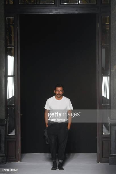 Haider Ackermann walks the runway during the Haider Ackermann Menswear Spring/Summer 2018 show as part of Paris Fashion Week on June 21 2017 in Paris...