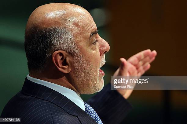 Haider Al Abadi Prime Minister of Iraq addresses the United Nations General Assembely on September 30 2015 in New York City The ongoing war in Syria...