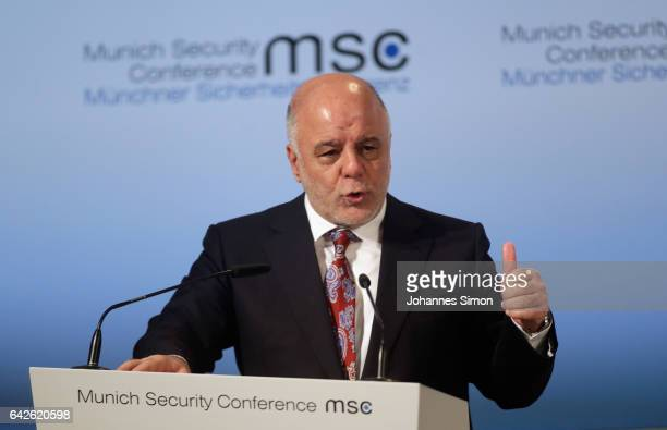 Haider AlAbadi prime minister of Iraq delivers a speech at the 2017 Munich Security Conference on February 18 2017 in Munich Germany The 2017 Munich...