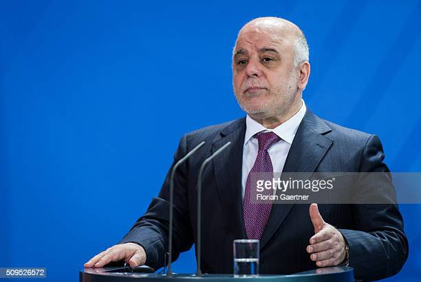 Haider alAbadi Prime Minister of Iraq during a press conference with German Chancellor Angela Merkel on February 11 2016 in Berlin