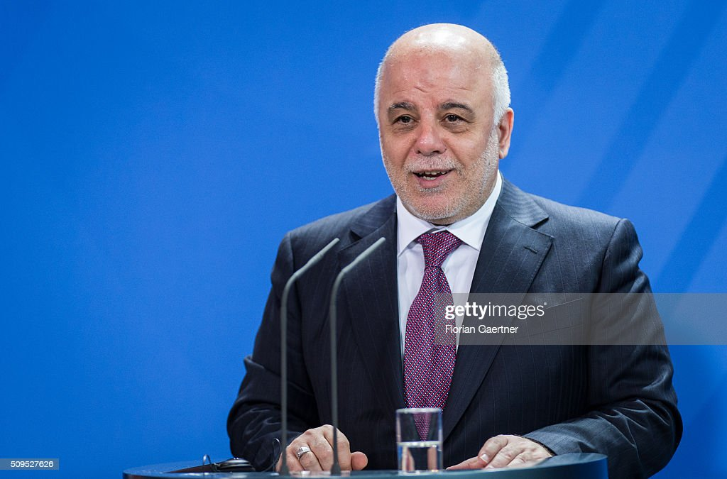 Haider al-Abadi, Prime Minister of Iraq, during a press conference with German Chancellor Angela Merkel (not pictured) on February 11, 2016 in Berlin.