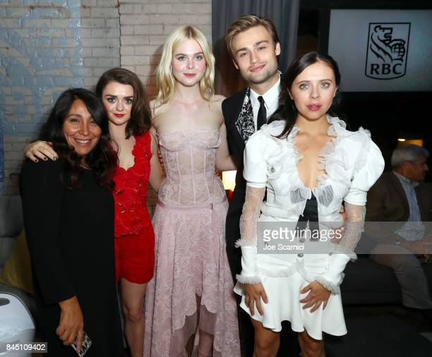 Haifaa Al Mansour Maisie Williams Elle Fanning Douglas Booth Bel Powley attend the RBC hosted 'Mary Shelley' cocktail party at RBC House Toronto Film...