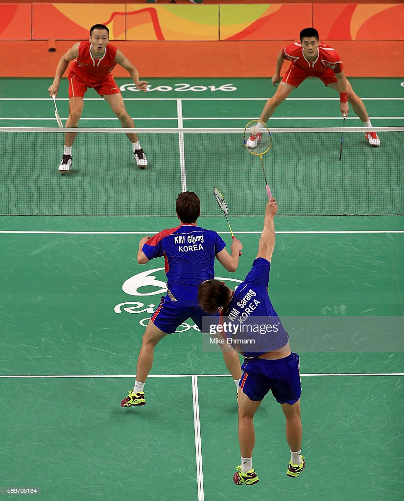 Haifeng Fu and Nan Zhang of China play a quarterfinal match against Gi Jung Kim and Sa Rang Kim of Korea on Day 10 of the 2016 Rio Olympics at...