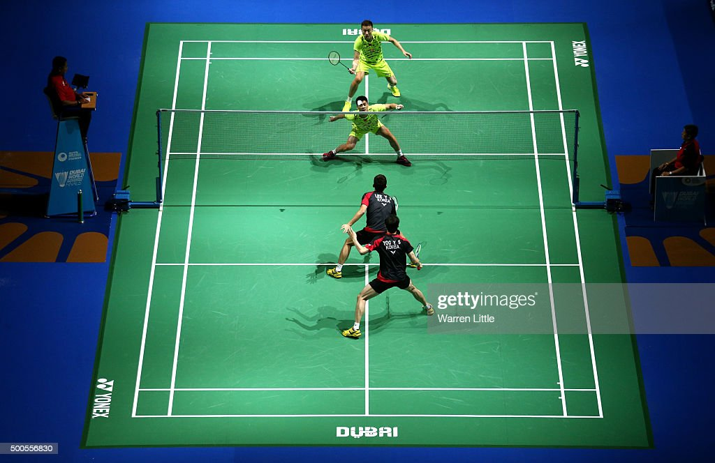<a gi-track='captionPersonalityLinkClicked' href=/galleries/search?phrase=Haifeng+Fu&family=editorial&specificpeople=647789 ng-click='$event.stopPropagation()'>Haifeng Fu</a> and Nan Zhang of China play Yong Dae Lee and Yeon Seong Yoo of Korea in the Men's Doubles match during day one of the BWF Dubai World Superseries 2015 Finals at the Hamdan Sports Complex on on December 9, 2015 in Dubai, United Arab Emirates.