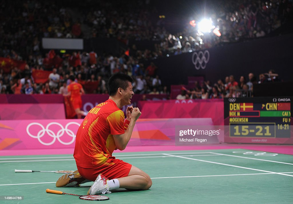 <a gi-track='captionPersonalityLinkClicked' href=/galleries/search?phrase=Haifeng+Fu&family=editorial&specificpeople=647789 ng-click='$event.stopPropagation()'>Haifeng Fu</a> of China celebrates winning his Men's Doubles Badminton Gold Medal match against Mathias Boe and Carsten Mogensen of Denmark during Badminton on Day 9 of the London 2012 Olympic Games at Wembley Arena on August 5, 2012 in London, England.