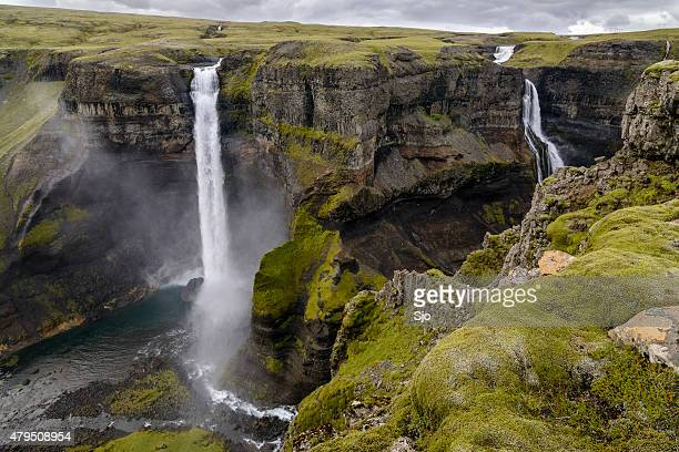 Haifoss Waterfall dropping down into the canyon in Iceland