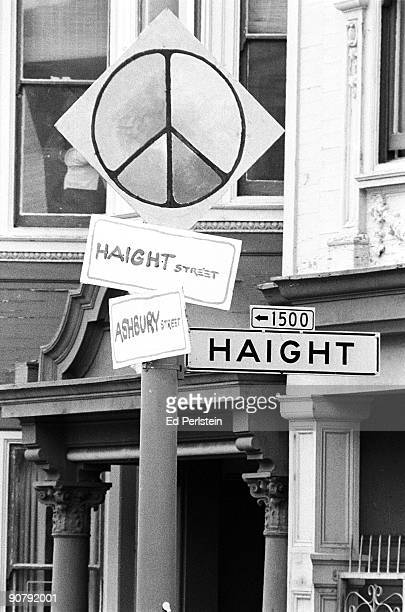 Haight Ashbury street sign during the Haight Street Fair in San Francisco California