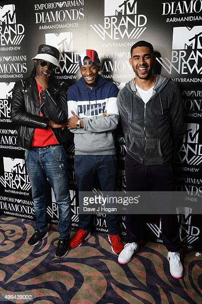 Haile Akelle Charles and Louis Rei of WSTRN attend MTV Brand New presented by Emporio Armani at Tape London on December 1 2015 in London England