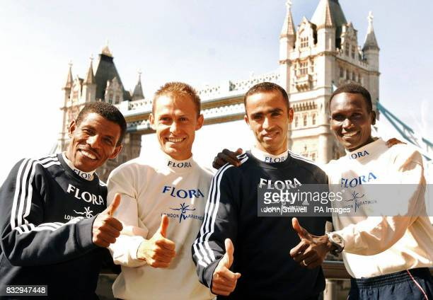 Haile Gebrselassie of Ethiopia Stefano Baldini of Italy Jaouad Gharib of Morocco and Paul Tergat of Kenya during a photo call at The Thistle Hotel...