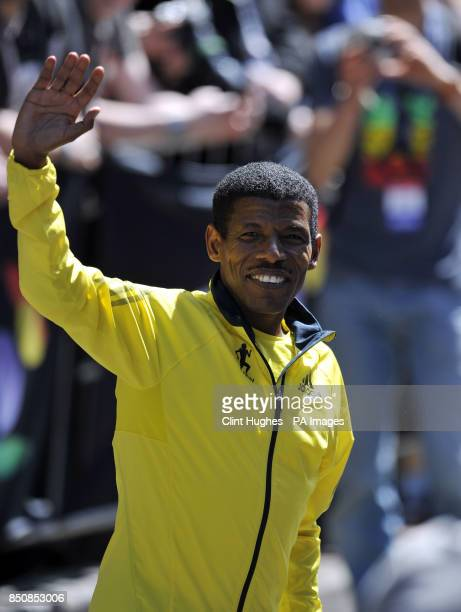 Haile Gebrselassie waves to the crowds during the BT Great City Games in Manchester