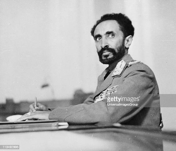Haile Selassie Emperor of Ethiopia in his study at the palace Addis Ababa Ethiopia 1942 After defeat of the Italians on 5 May Haile Selassie entered...