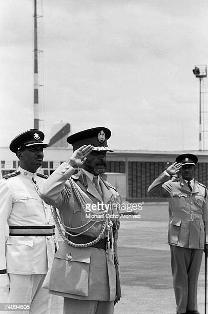 Haile Selassie I Emperor of Ethiopia arrives at Piarco International Airport on April 18 1966 in Port Of Spain Trinidad
