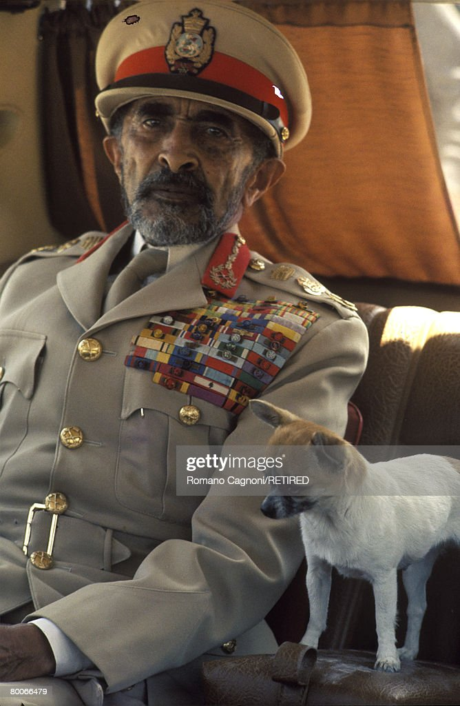 Haile Selassie I (1892 - 1975), Emperor of Ethiopia, with his pet chihuahua, circa 1970.