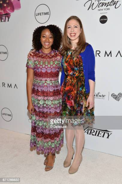 Haile Thomas and Chelsea Clinton attend Variety's Power of Women New York at Cipriani Midtown on April 21 2017 in New York City