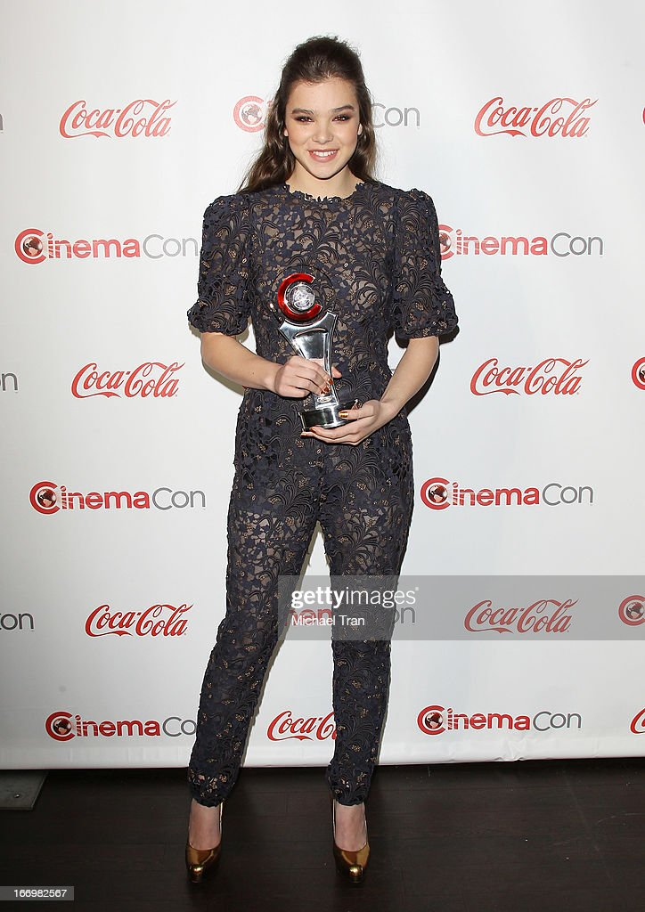 Hailee Steinfeld accepts the award for 'Female Star of Tomorrow' at the CinemaCon 2013 Big Screen Achievement Awards held at Caesars Palace during CinemaCon, the official convention of the National Association of Theatre Owners on April 18, 2013 in Las Vegas, Nevada.
