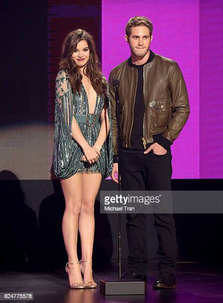 Hailee Steinfeld and Blake Jenner speak onstage during the 2016 American Music Awards held at Microsoft Theater on November 20 2016 in Los Angeles...