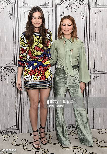 Hailee Steinfeld and Haley Lu Richardson attend Build Series to discuss the new movie 'The Edge Of Seventeen' at AOL HQ on November 17 2016 in New...