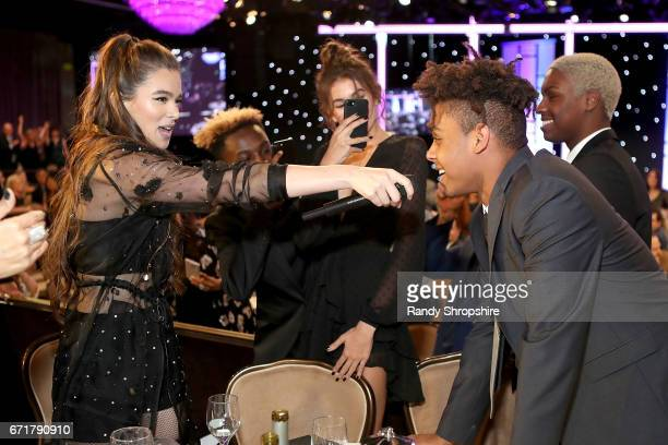 Hailee Steinfeld and honoree Max Harris attend JDRF LA's IMAGINE Gala to benefit type 1 diabetes research at The Beverly Hilton on April 22 2017 in...