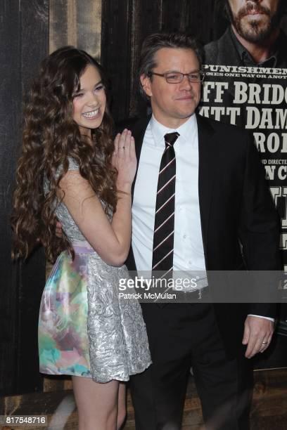 Hailee Steinfeld and Matt Damon attend The New York Premiere of TRUE GRIT at Ziegfeld Theatre on December 14 2010 in New York City