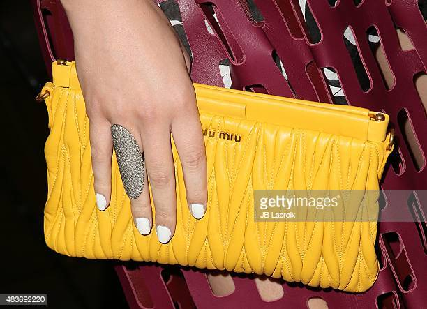 Hailee Steinfeld bag details attends a special screening of Archer Gray's 'Ten Thousand Saints' on August 11 2015 in Century City California