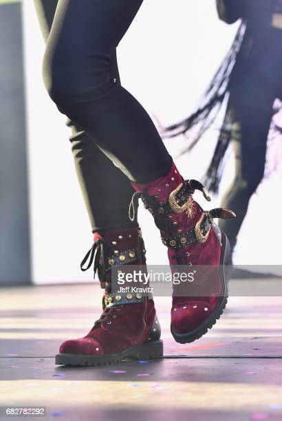 Hailee Steinfeld boot detail performs onstage during 1027 KIIS FM's 2017 Wango Tango at StubHub Center on May 13 2017 in Carson California