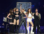 Hailee Steinfeld Gigi Hadid Taylor Swift Lily Aldridge and Lena Dunham onstage during The 1989 World Tour Live at MetLife Stadium on July 10 2015 in...