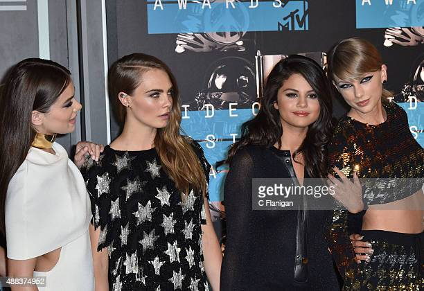 Hailee Steinfeld Model Cara Delevingne recording artists Selena Gomez and Taylor Swift arrive to the 2015 MTV Video Music Awards at Microsoft Theater...